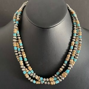 Jewelry - S.Silver MultiStrand Turquoise Jasper BeadNecklace